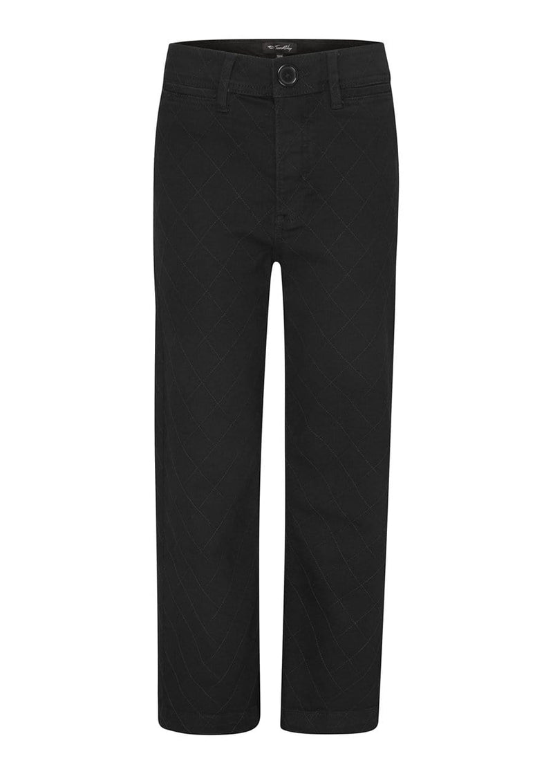 Youth Girls Black Wide Leg Jeans With Quilted Stitching