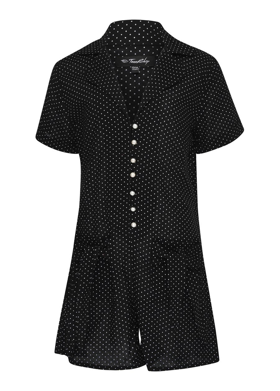 TeenzShop Youth Girls Black Polka Playsuit-SUSTAINABLE FABRIC