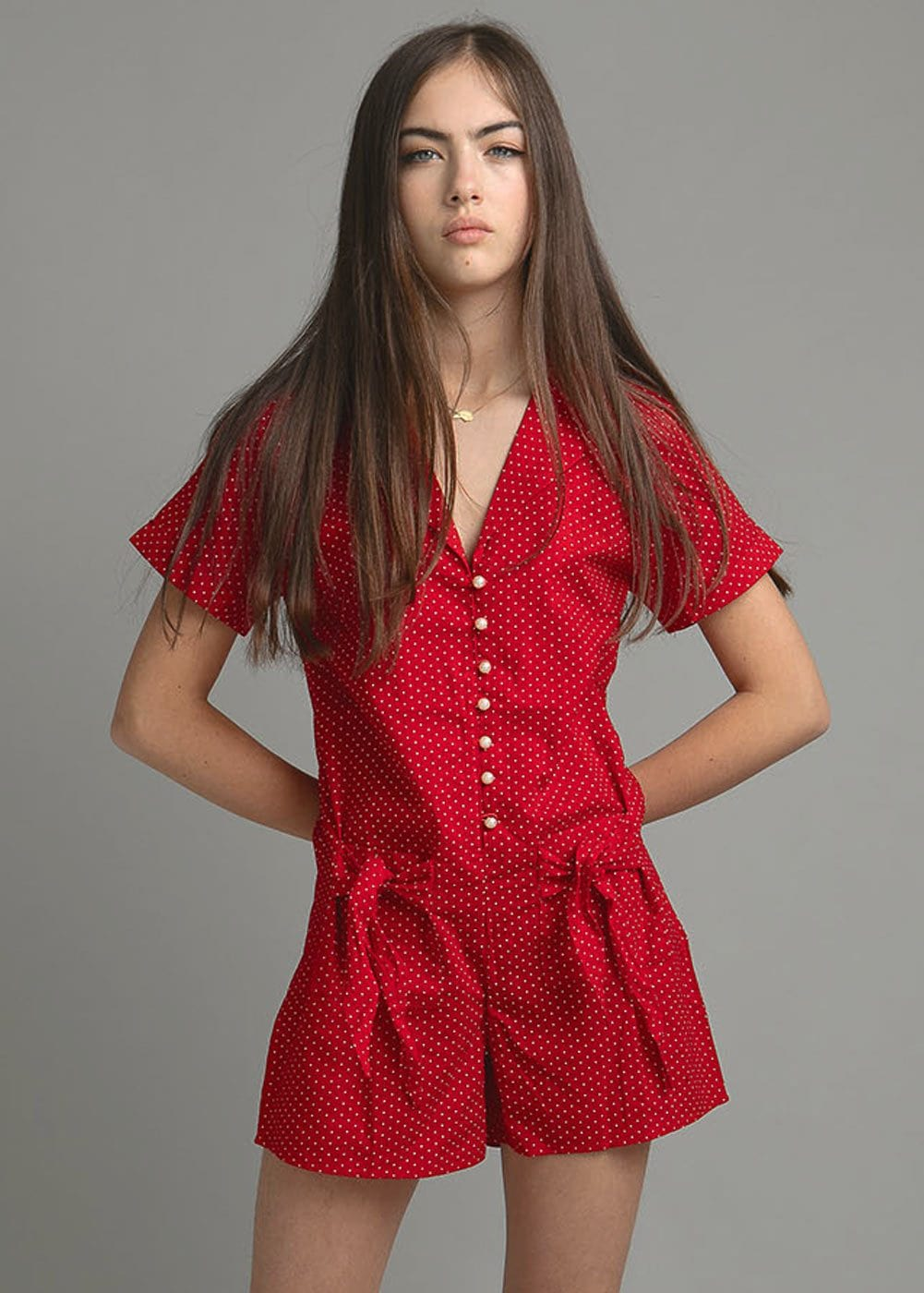 Polka Playsuit - Red - Front
