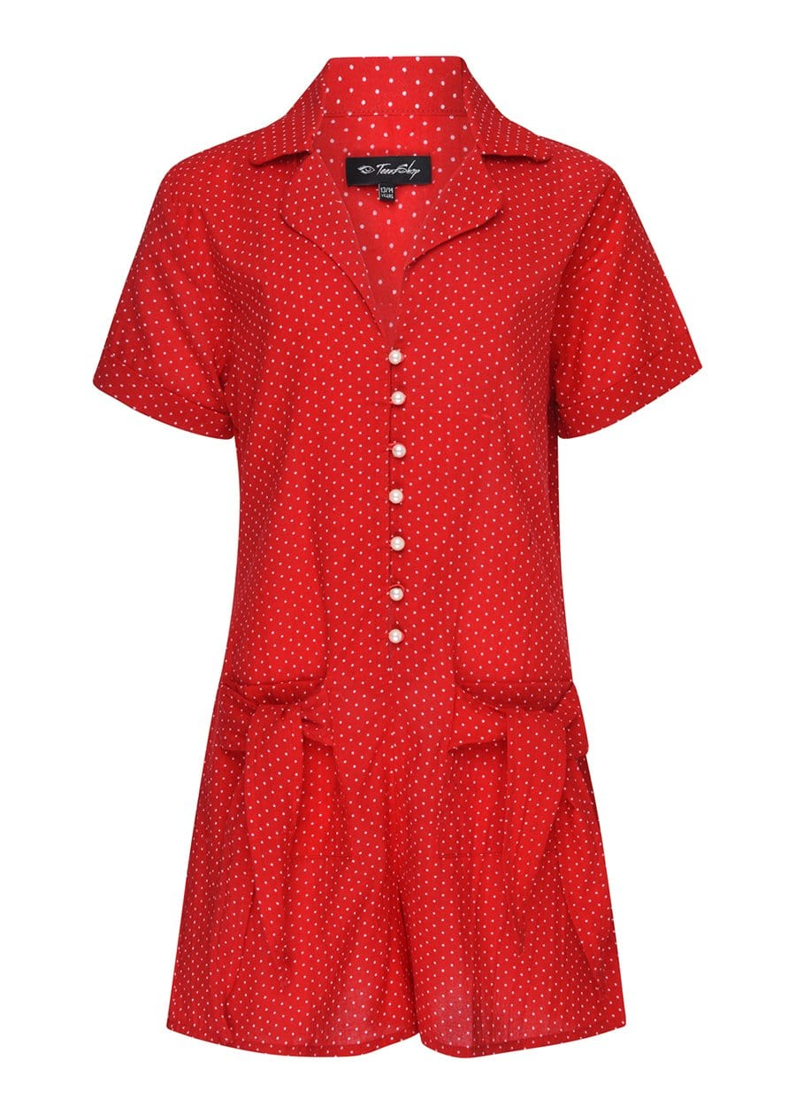 Youth Girls Red Polka Playsuit