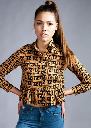 Girls TZ Logo Peplum Shirt With Poppers - Brown - Front