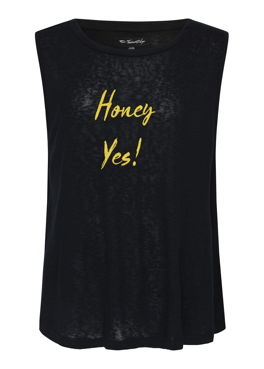 TeenzShop Youth Girls Honey Yes! Linen Embroidered Tank Top-SUSTAINABLE FABRIC