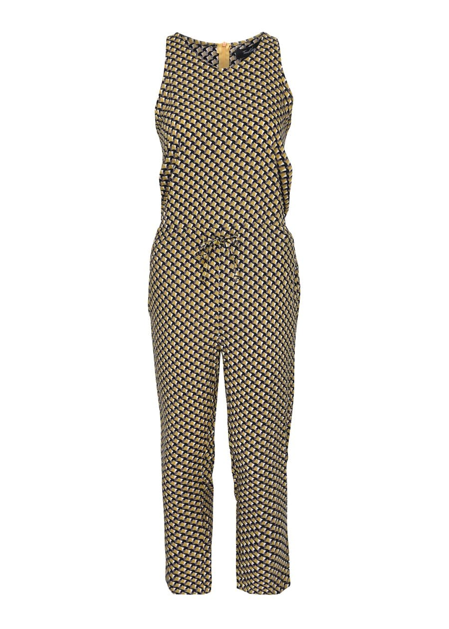 TeenzShop Youth Girls Yellow Geo Print Jumpsuit- SUSTAINABLE FABRIC