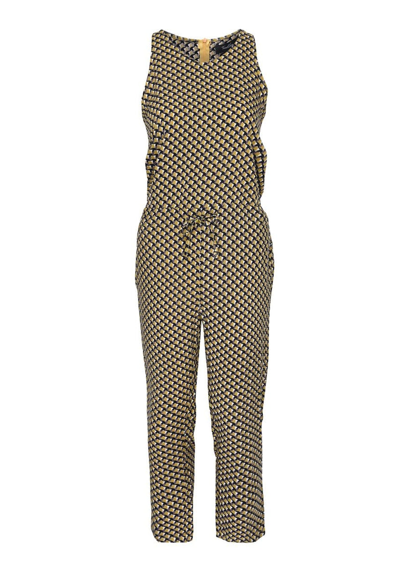 Youth Girls Yellow Geo Print Jumpsuit- SUSTAINABLE FABRIC