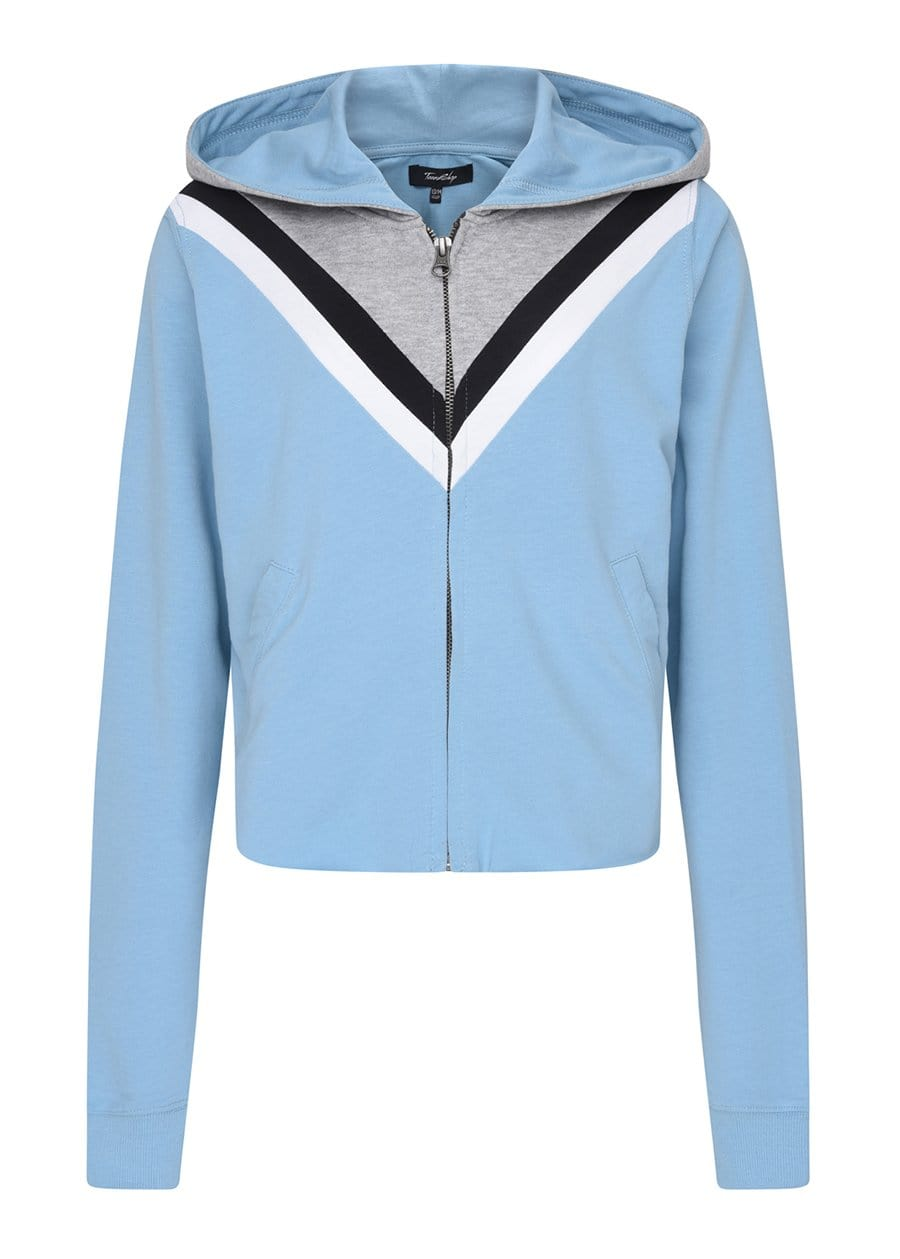 Girls Retro Blue Cropped Hoodie with Eyes Embroidery Front