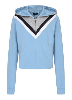TeenzShop Girls Retro Blue Cropped Hoodie with Eyes Embroidery
