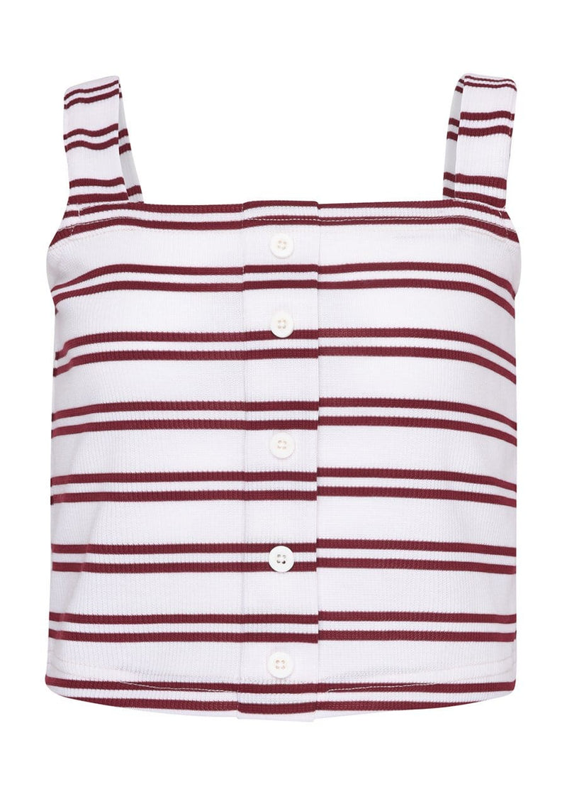 Youth Girls Red & White Striped Ribbed Top