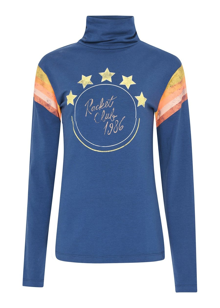 Youth Girls Navy Racket Club Roll Neck