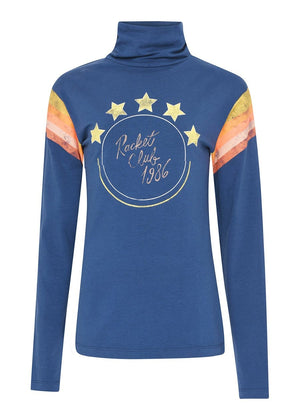 TeenzShop Youth Girls Navy Racket Club Roll Neck