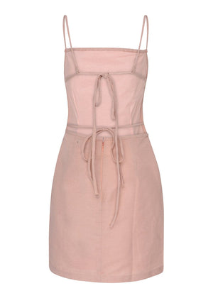 TeenzShop Youth Girls Pink 80's Tie Back Dress-SUSTAINABLE FABRIC
