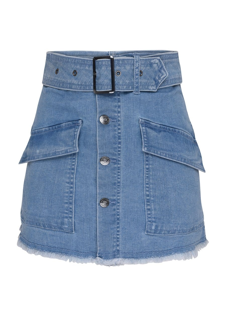 Youth Girls Blue Belted Button Down Mini Skirt