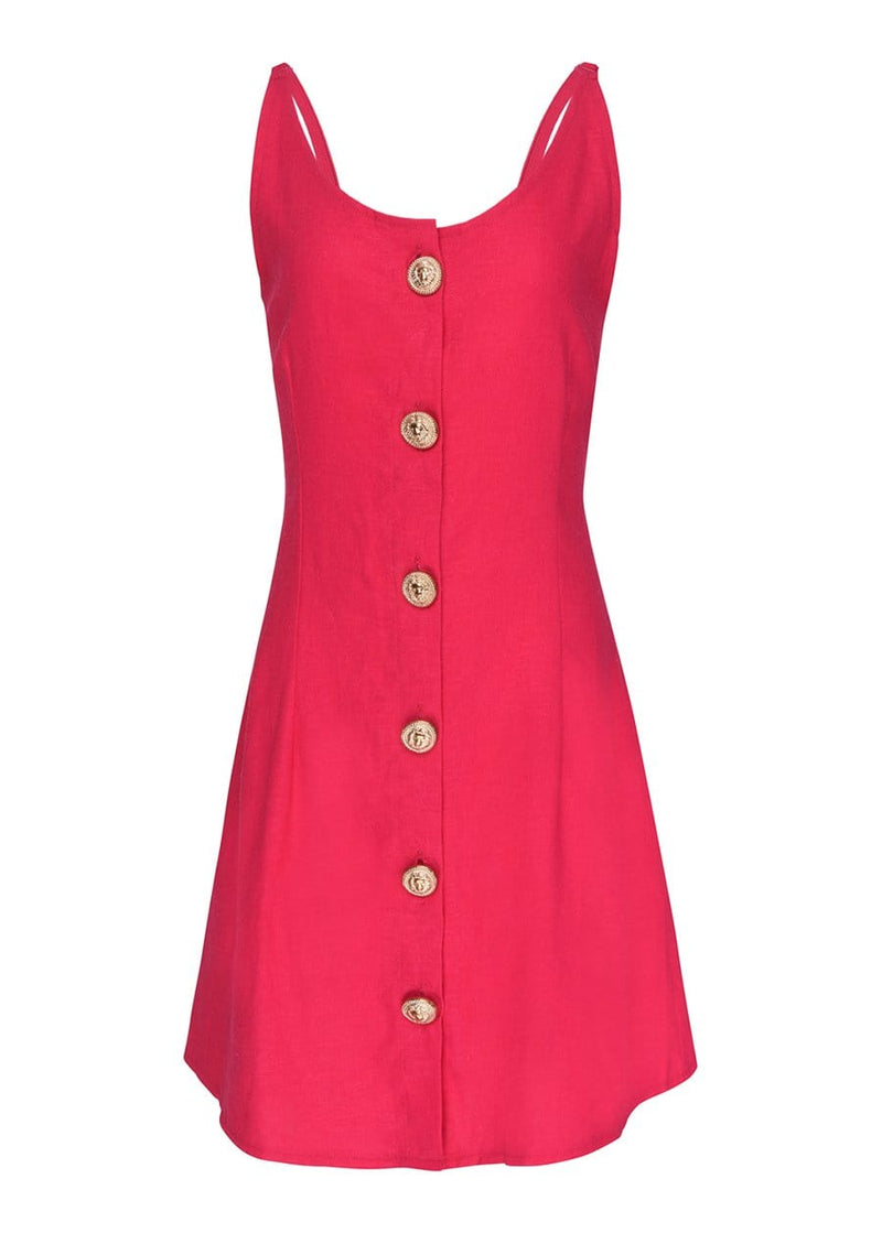 Youth Girls Fuchsia Button Down Tie Back Dress - SUSTAINABLE FABRIC
