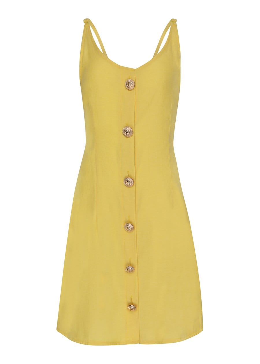 TeenzShop Youth Girls Yellow Button Down Dress-SUSTAINABLE FABRIC