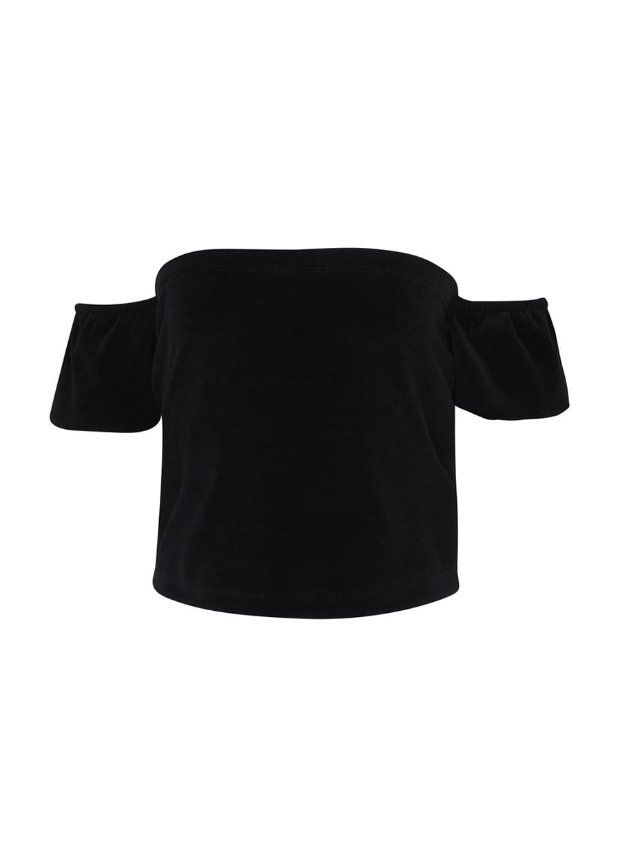 Teenzshop Youth Girls Black Velour Bardot Top-SUSTAINABLE FABRIC