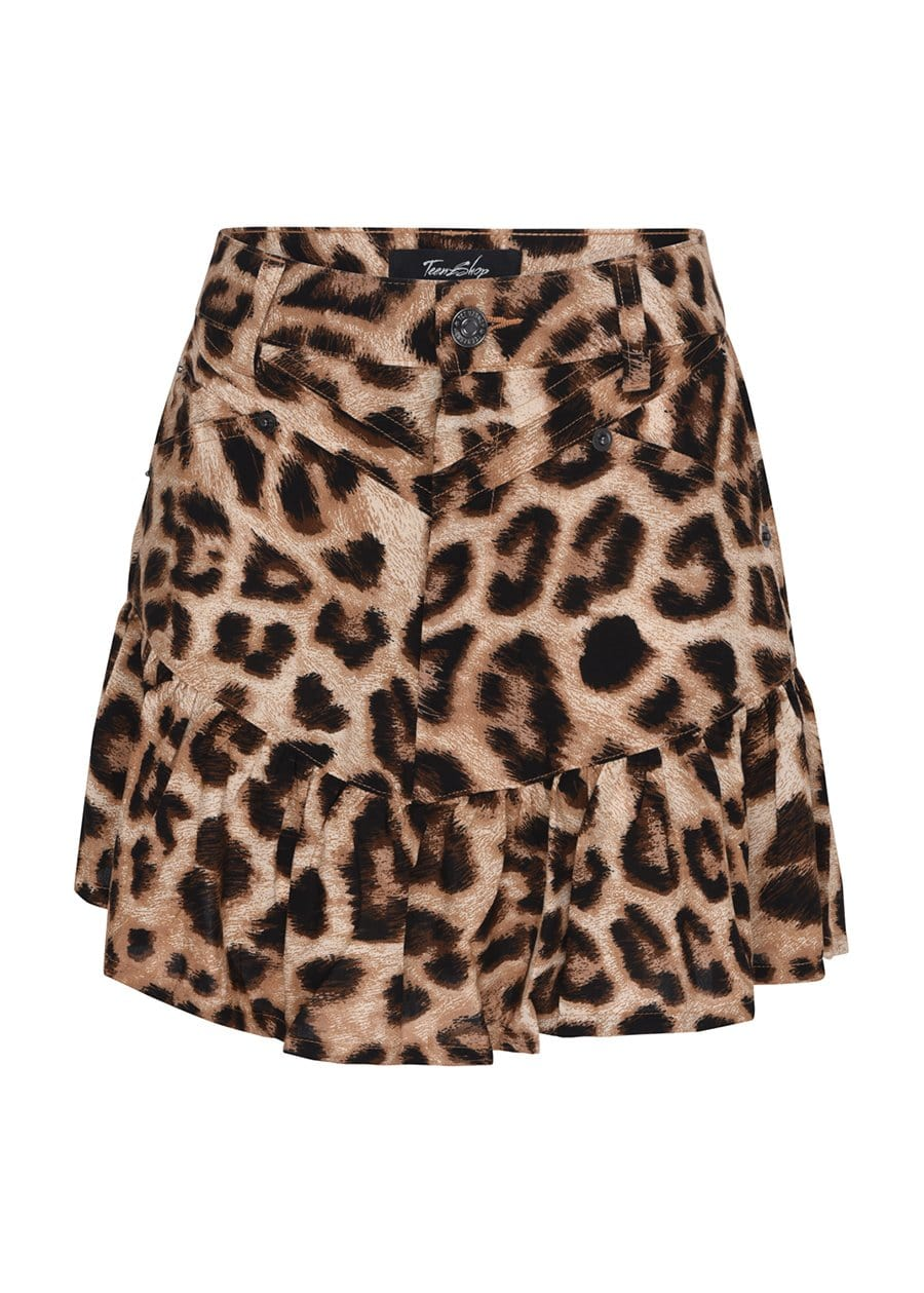 Youth Girls Frill 80s Leopard Print Skirt