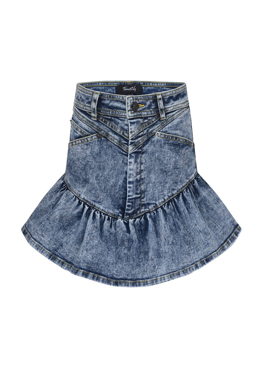 TeenzShop Youth Girls Stonewash Denim Frill Skirt