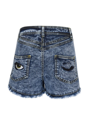 Teenzshop Youth Girls Blue Stonewash Retro Denim Shorts