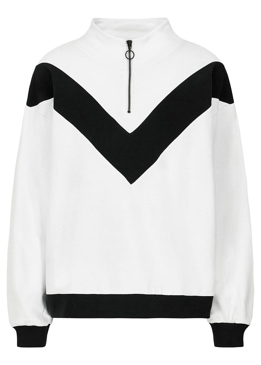 Teenzshop Youth Girls White Half Zip Champ Sweatshirt Front