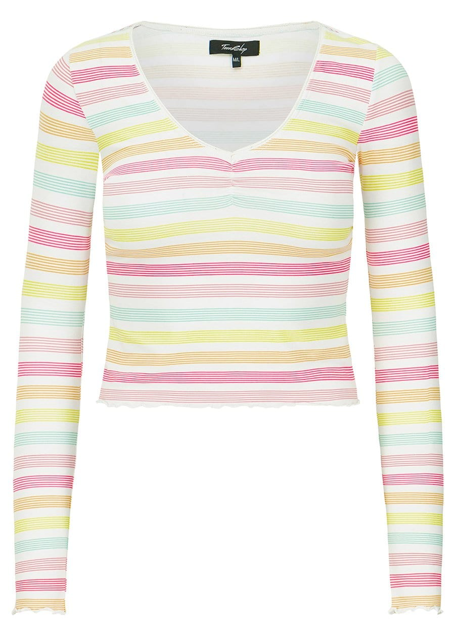 TeenzShop Youth Girls Candy Stripes Elastic Long Sleeve Ballet Top - SUSTAINABLE FABRIC