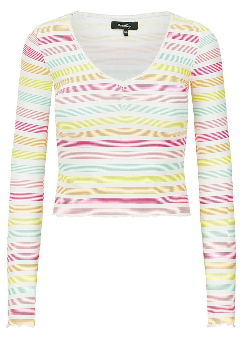 Youth Girls Candy Stripes Elastic Long Sleeve Ballet Top - SUSTAINABLE FABRIC