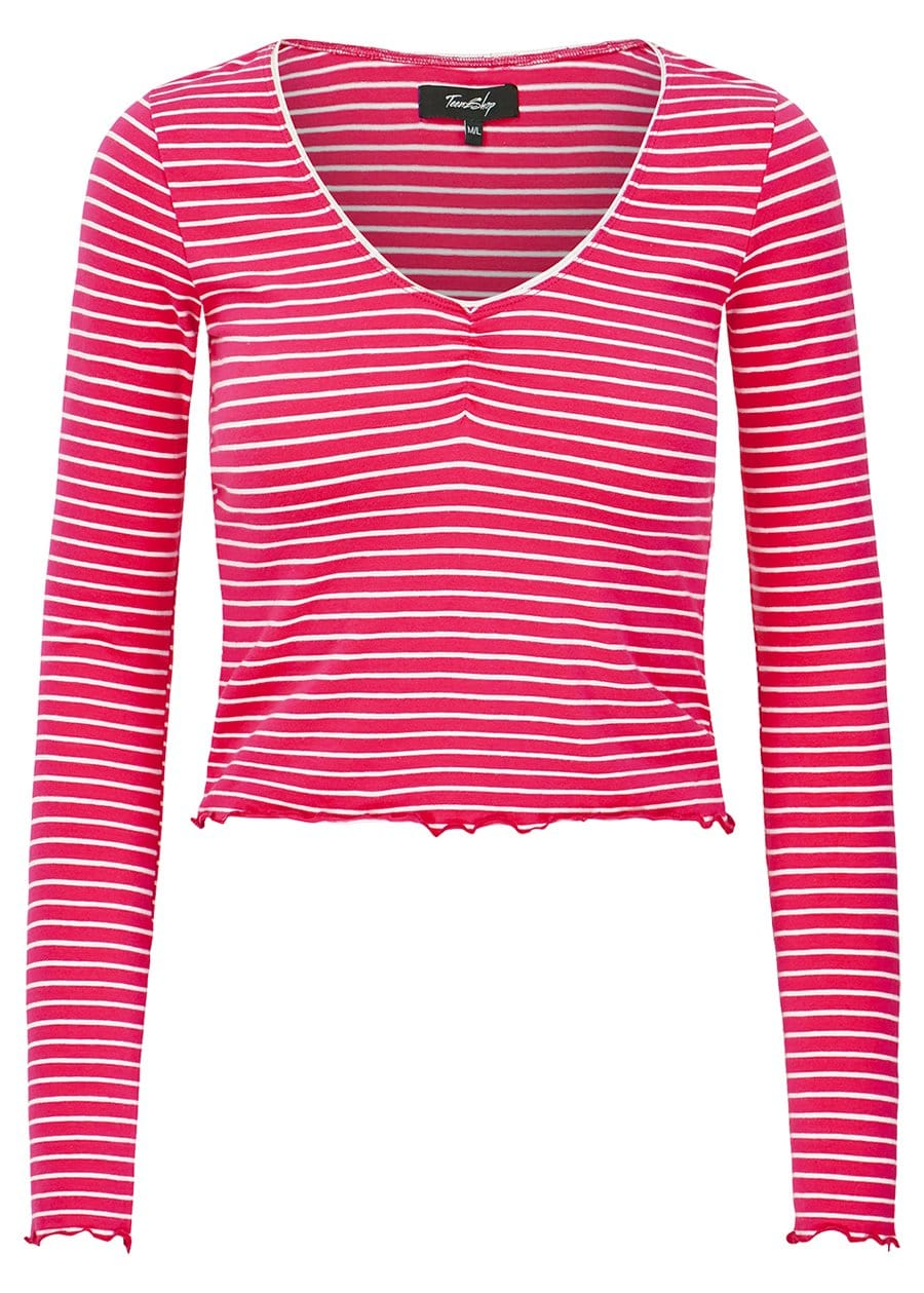 Girls Pink Stripe Elastic Long Sleeve Ballet Top-TeenzShop