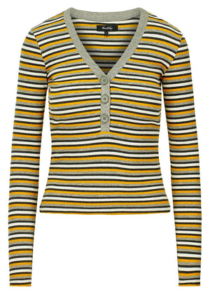 TeenzShop Girls Grey & Yellow V-Neck Striped Rib Top - SUSTAINABLE FABRIC