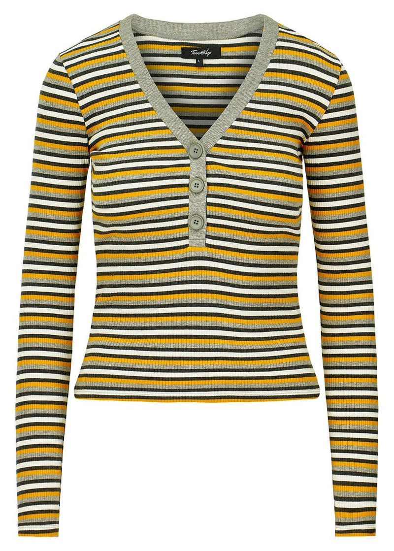 Girls Grey & Yellow V-Neck Striped Rib Top - SUSTAINABLE FABRIC