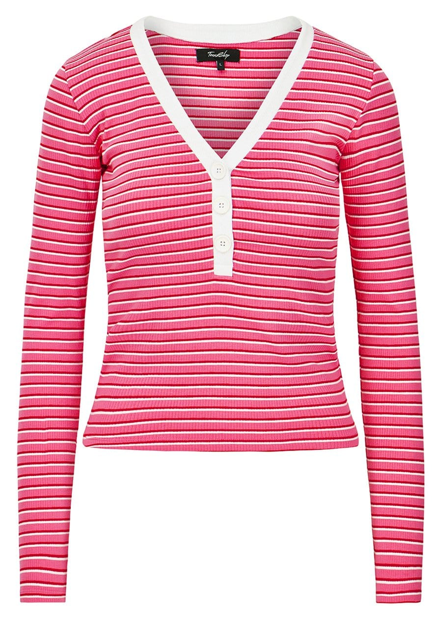 TeenzShop Youth Girls Pink Long-Sleeve Ribbed V-Neck Top - SUSTAINABLE FABRIC
