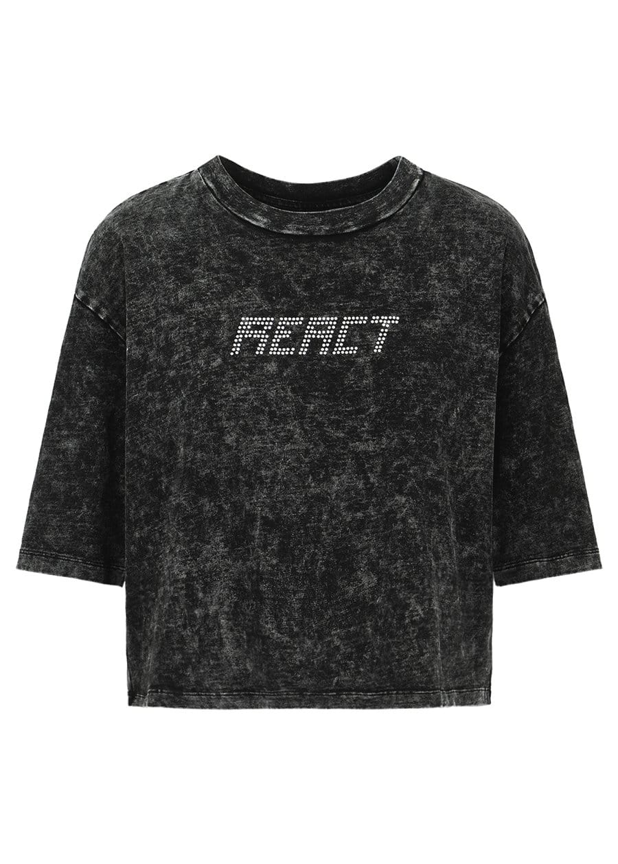 TeenzShop Youth Girls Black Crystal React T-shirt