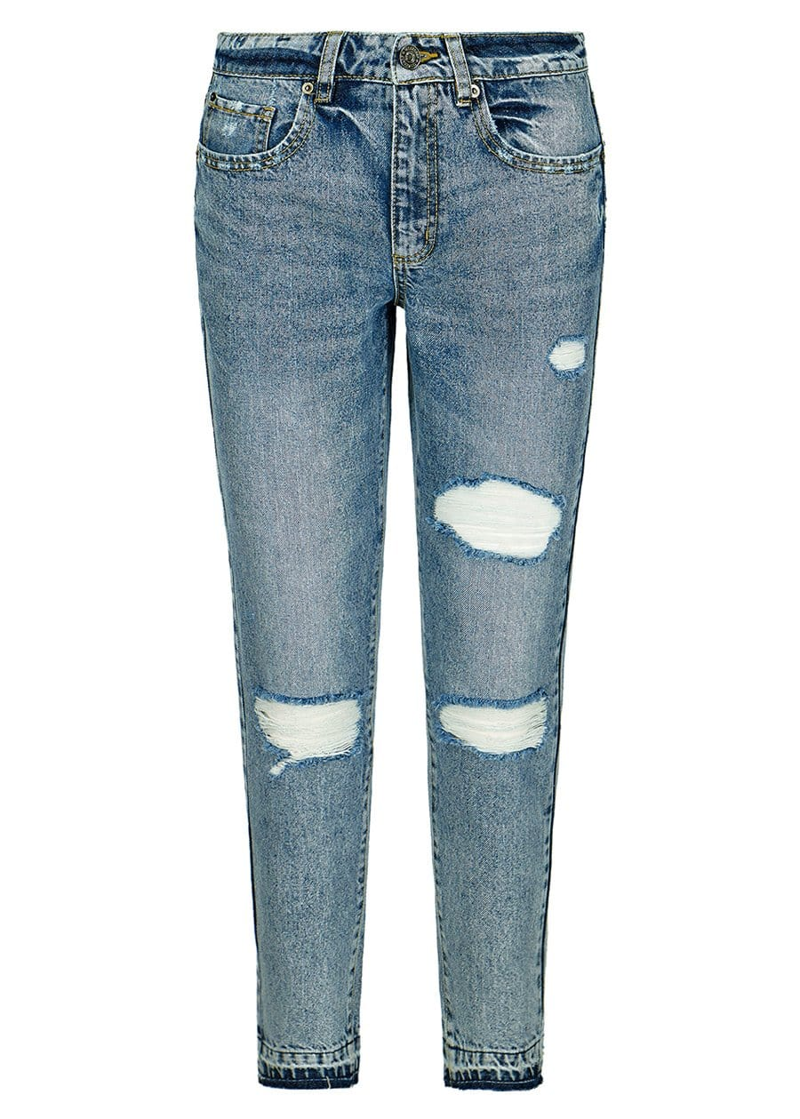 TeenzShop Youth Girls Thunderbolt Mom Jeans