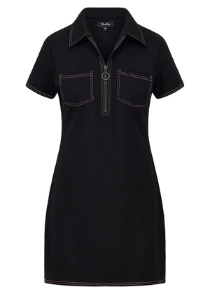 TeenzShop Girls Black Zipper Pull Shirt Dress - SUSTAINABLE FABRIC