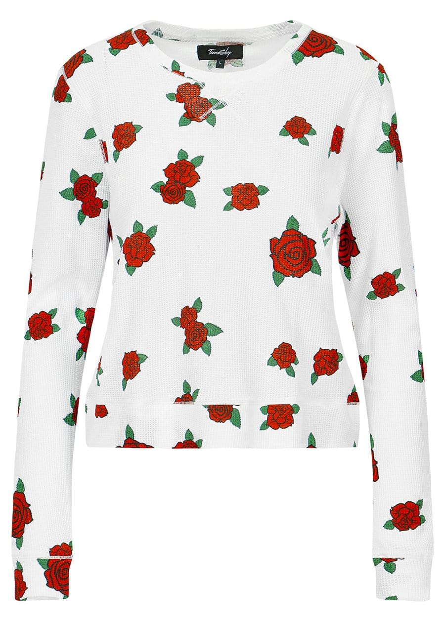 TeenzShop Youth Girls Long Sleeve Roses Waffle Top - SUSTAINABLE FABRIC
