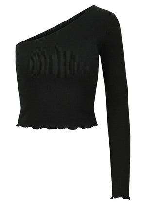 TeenzShop Girls Black Long Sleeve One Shoulder Top - SUSTAINABLE FABRIC