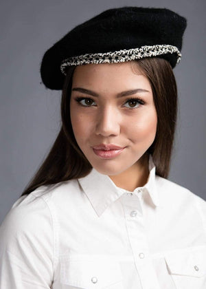 Girls Paris Beret - Black - Front