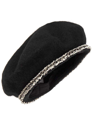 Girls Paris Beret - Black - Detail