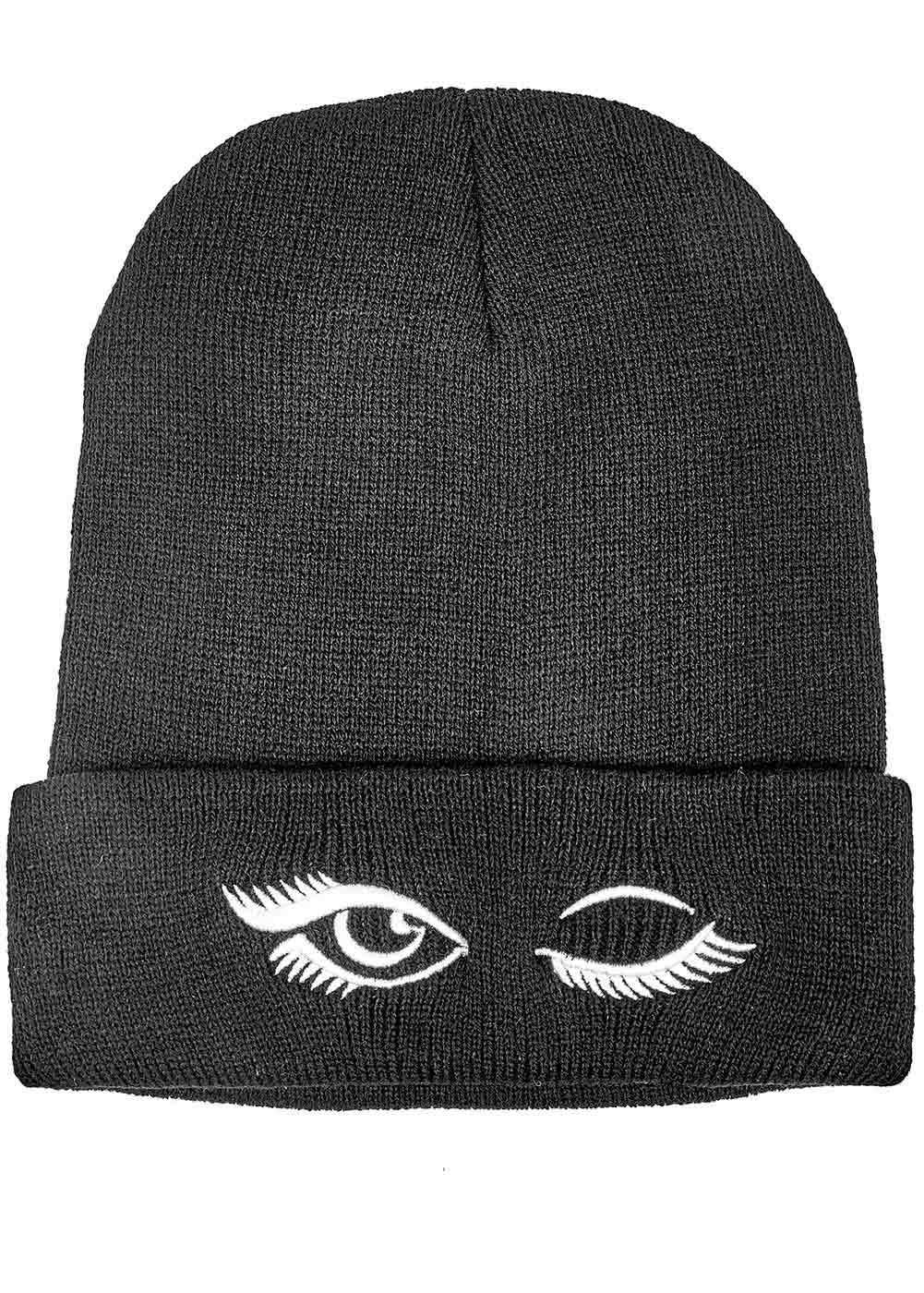 Teenzshop Wink Eye Beanie - Black - Front