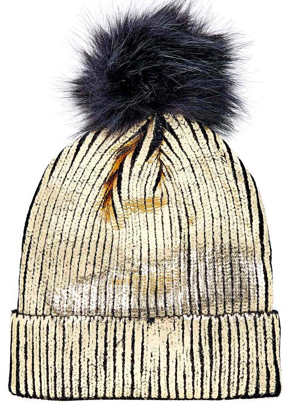 Girls Metallic Pom Pom Beanie - Gold - Back