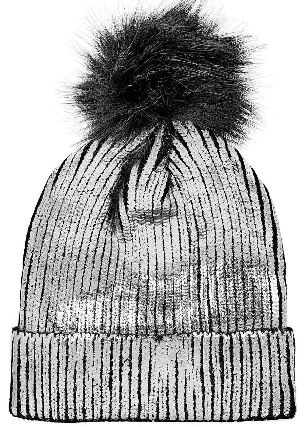 Girls Metallic Pom Pom Beanie - Silver - Back