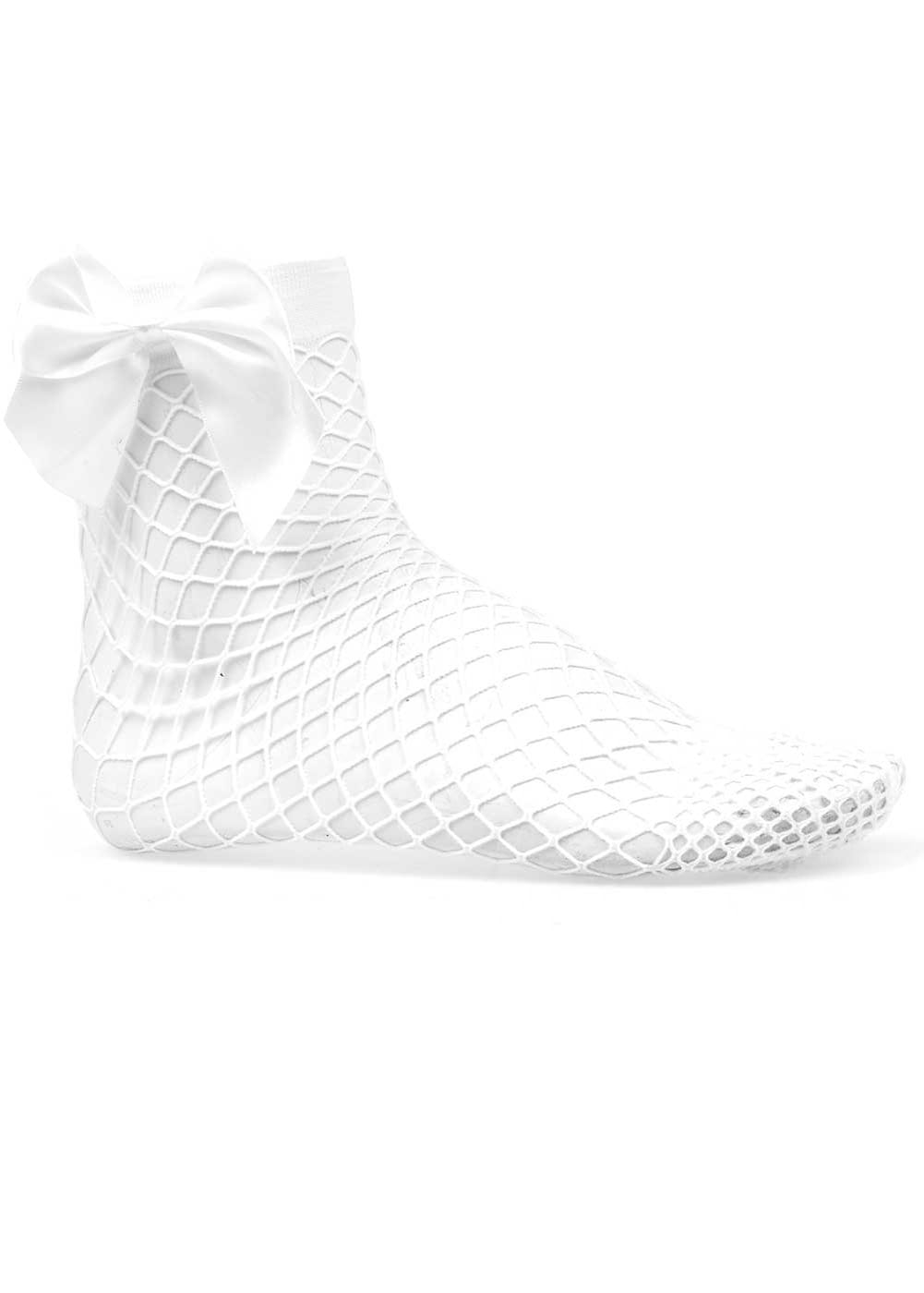 Girls White Fishnet Socks-Side