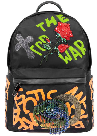 Girls Black Graffiti Backpack-Front