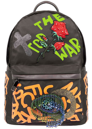 TeenzShop Navy Embroidered Graffiti Backpack