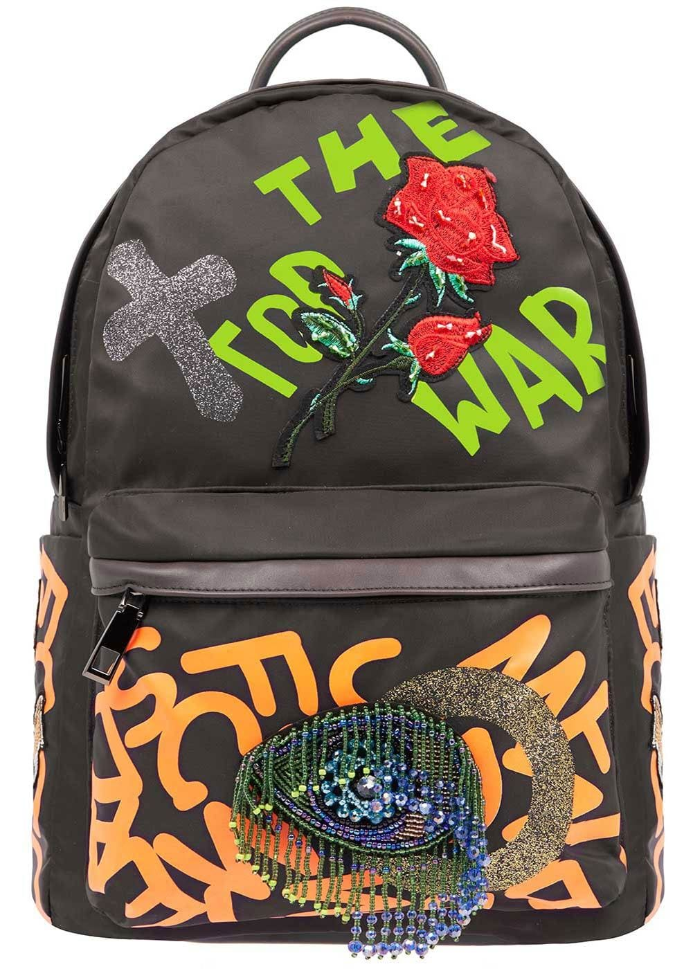 Girls Grey Graffiti Backpack-Front