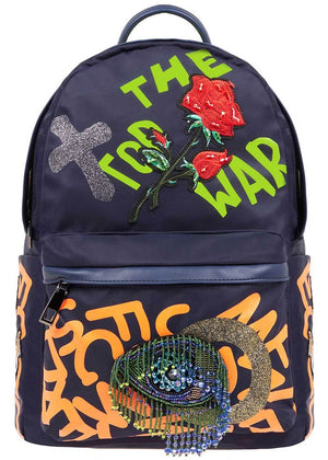 Girls Navy Graffiti Backpack-Front