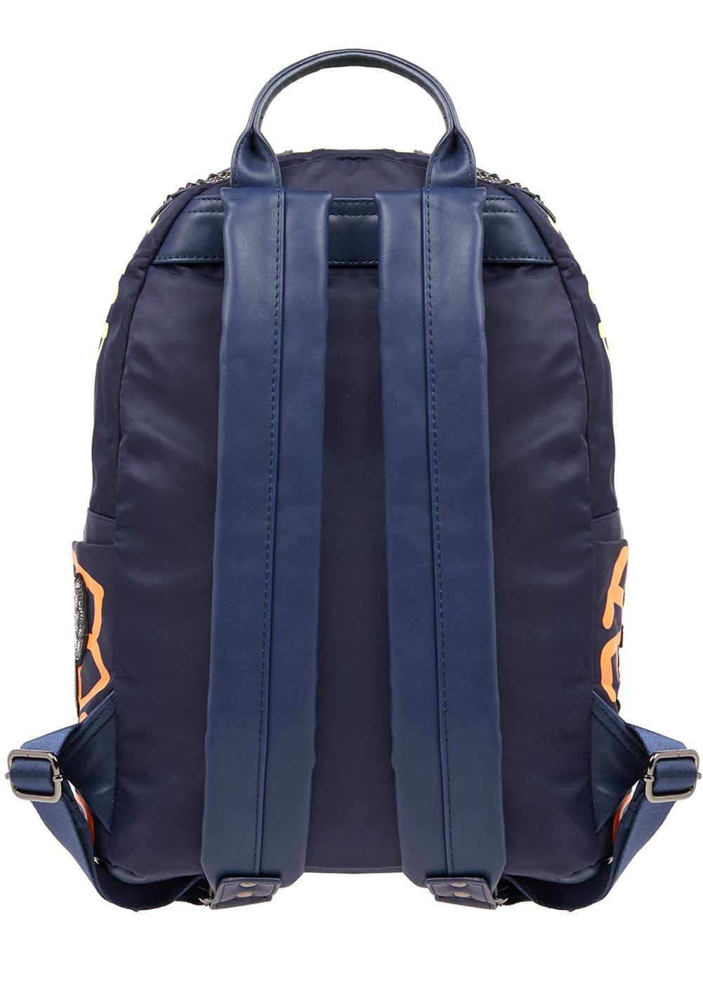 Girls Navy Graffiti Backpack - Back
