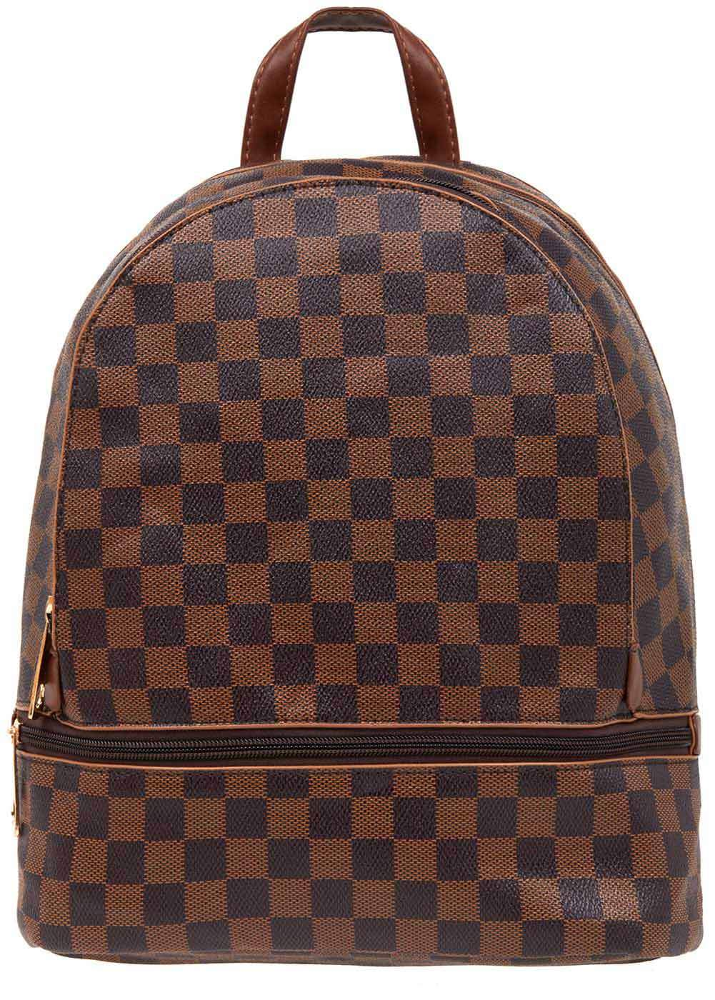 Girls Brown Small Checker Backpack - Front