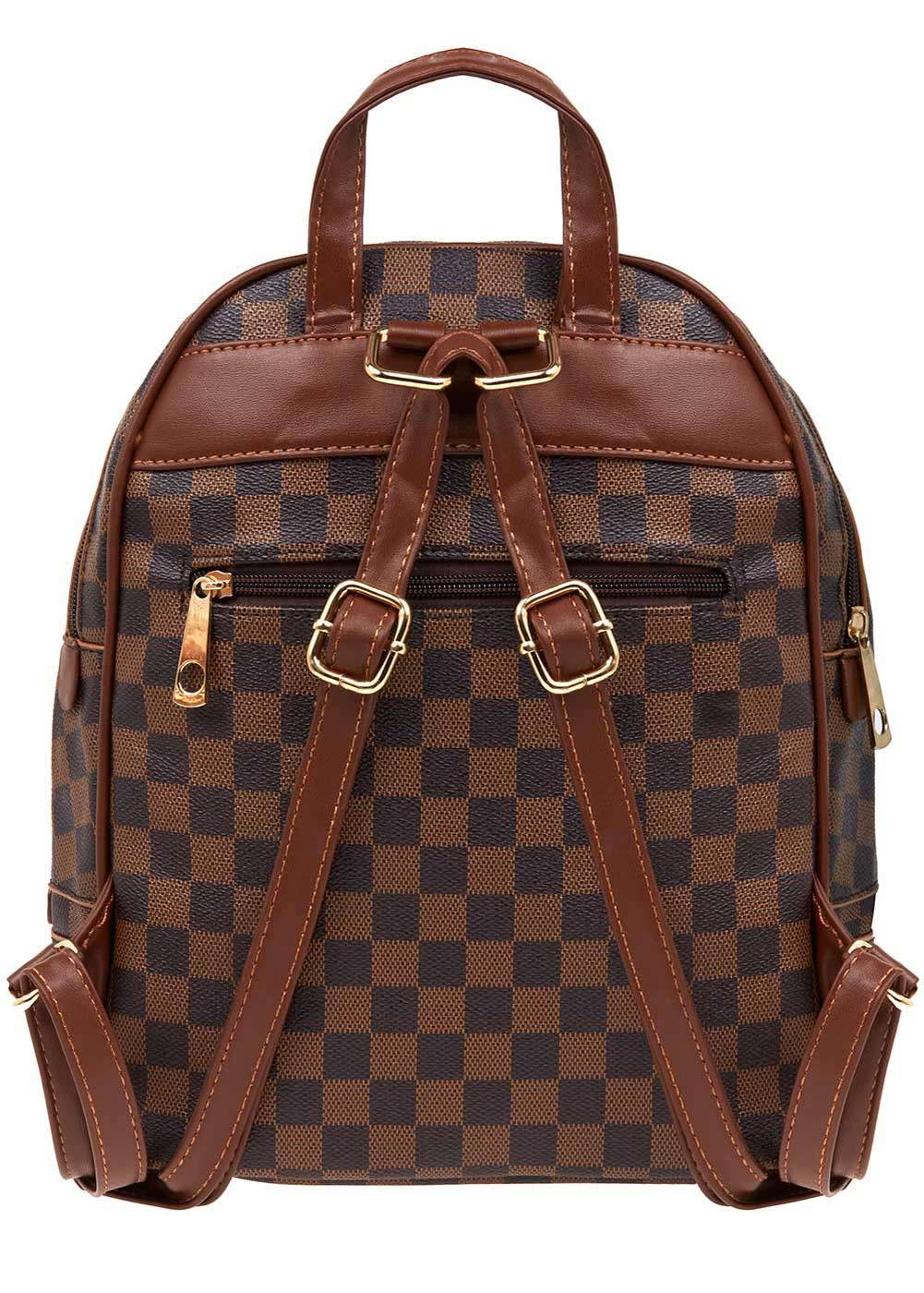 Girls Brown Small Checker Backpack - Back