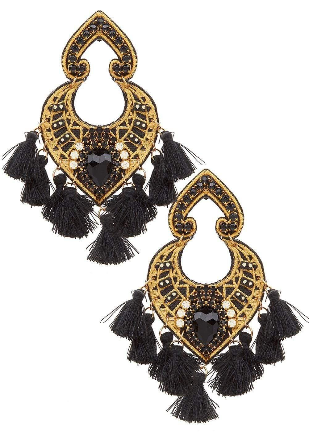 Girls Black Bead & Tassel Earrings-Front