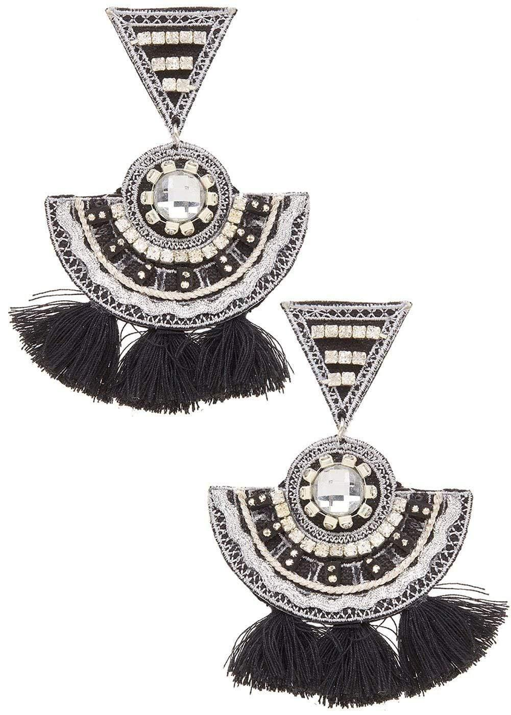Girls Black Chandelier Earrings-Front