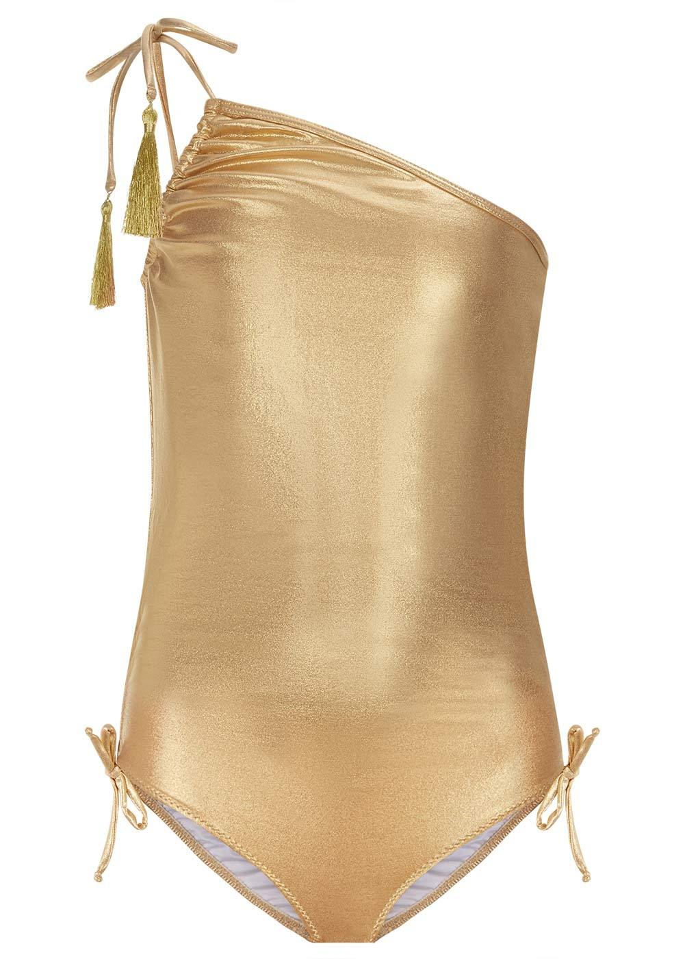Girls Gold One-Shoulder Swimsuit-Front