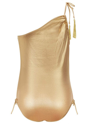 Girls Gold One-Shoulder Swimsuit-Back